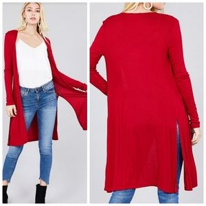 Sweaters - Red Long Slit Sides Open Ribbed Cardigan